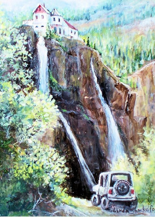 Waterfall Greeting Card featuring the painting Jeeping At Bridal Falls by Linda Shackelford