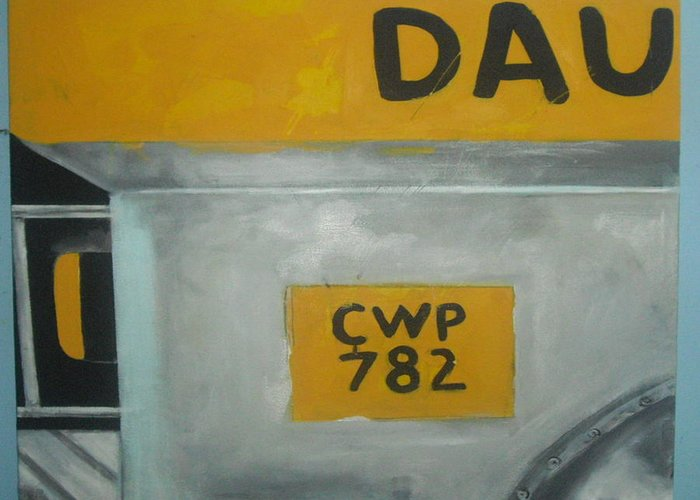Jeepney Greeting Card featuring the painting Jeepney by Robert Cunningham