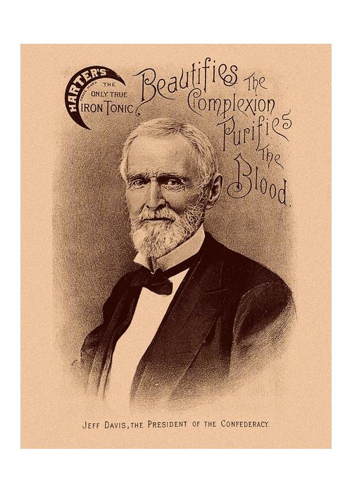 Jefferson Davis Greeting Card featuring the mixed media Jefferson Davis Vintage Advertisement by War Is Hell Store