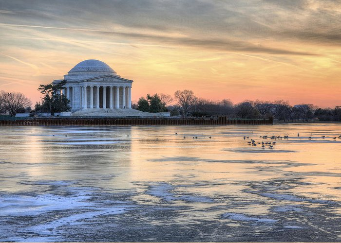 Jefferson Memorial Washington Dc Historic Mall Sunset Sunrise Winter Greeting Card featuring the photograph Jefferson by JC Findley