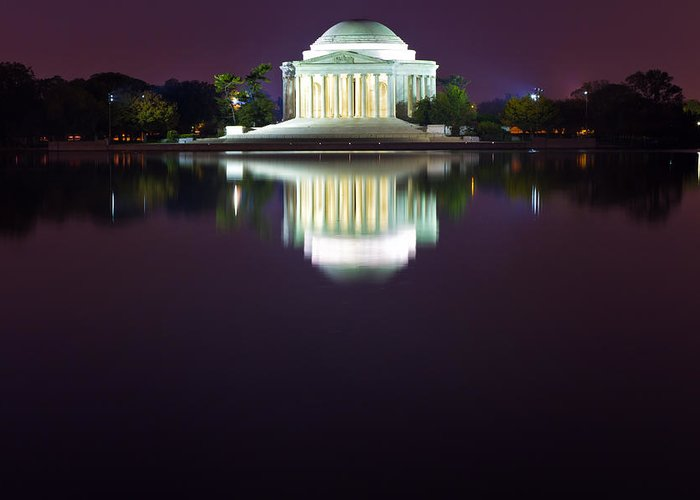 Jefferson Greeting Card featuring the photograph Jefferson Memorial Across The Pond At Night 4 by Val Black Russian Tourchin