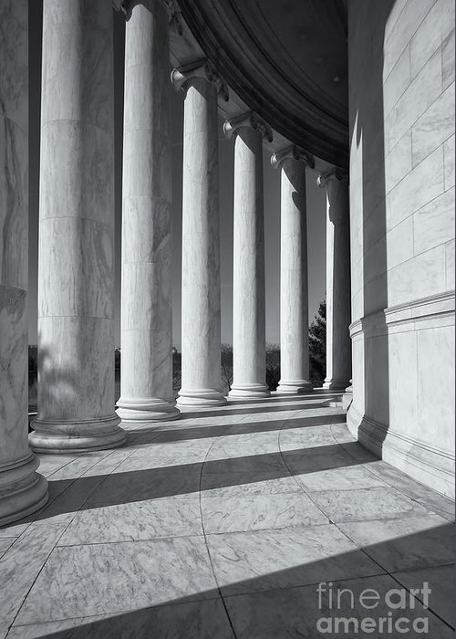 Clarence Holmes Greeting Card featuring the photograph Jefferson Memorial Columns And Shadows by Clarence Holmes