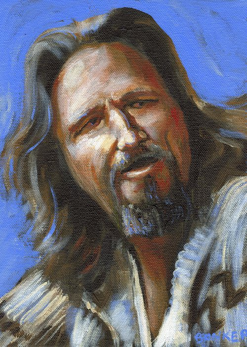 The Dude Greeting Card featuring the painting Jeffrey Lebowski - The Dude by Buffalo Bonker
