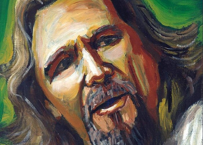 Jeff Bridges Greeting Card featuring the painting Jeffrey Lebowski The Dude by Buffalo Bonker