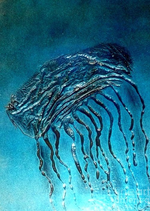 Ocean Greeting Card featuring the painting Jelly Fish Detail by Rick Silas