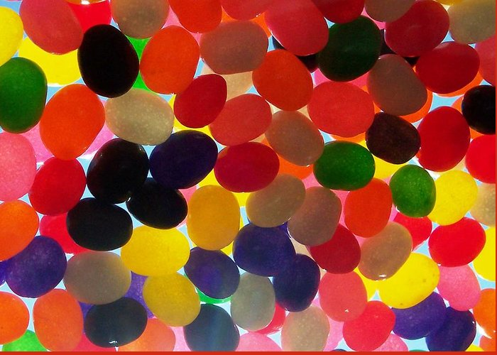 Candy Rainbow Treat Colorful Jellybean Greeting Card featuring the photograph Jellybeans by Anna Villarreal Garbis