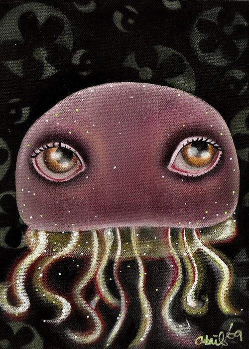 Jellyfish Greeting Card featuring the painting Jellyfish by Abril Andrade Griffith