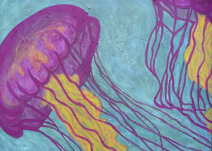 Jellyfish Greeting Card featuring the painting Jellyfish by Sarah Crumpler
