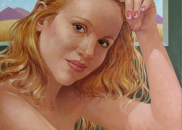Portrait Greeting Card featuring the painting Jenn Cornelius by Jerrold Carton