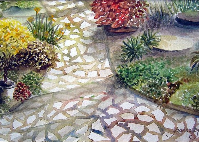Garden Path Plants Greeting Card featuring the painting Jennifers Garden by Joanne Smoley