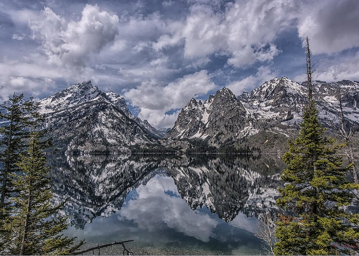 Tetons Greeting Card featuring the photograph Jenny Lake And The Cathedral by Howard Hackney