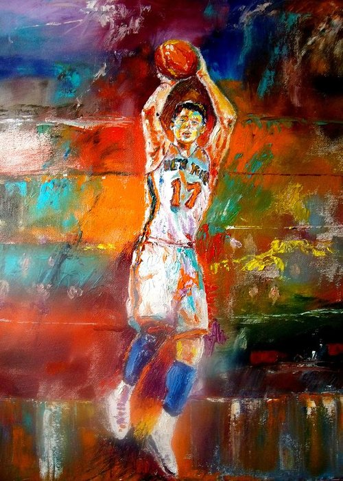 Jeremy Lin  Greeting Card featuring the painting Jeremy Lin New York Knicks by Leland Castro