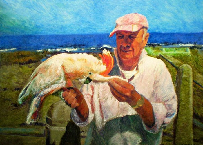 Bird Greeting Card featuring the painting Jergens And Honey by Michael Durst
