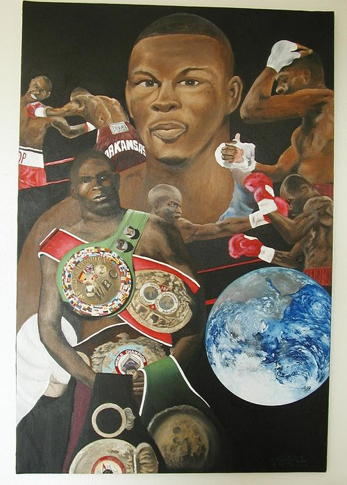 Portrait Greeting Card featuring the painting Jermain Taylor Montage by Angelo Thomas