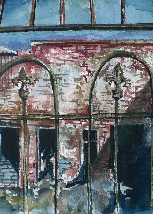 Jerome Greeting Card featuring the painting Jerome Ruins by Aleksandra Buha