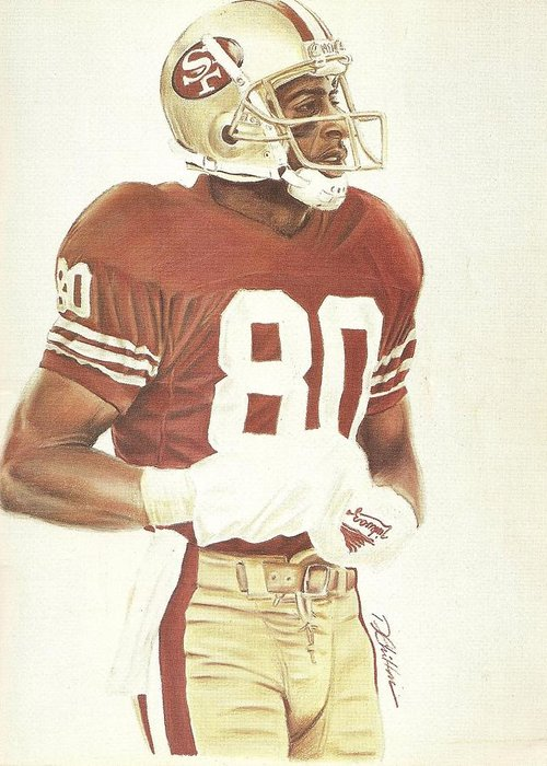 Football Greeting Card featuring the drawing Jerry by Darren Chilton