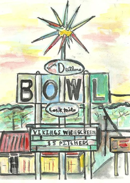 Bowling Greeting Card featuring the painting Jerry Dutler's Bowl by Matt Gaudian