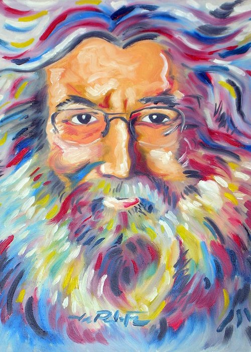 Jerry Garcia Greeting Card featuring the painting Jerry Garcia by Joseph Palotas