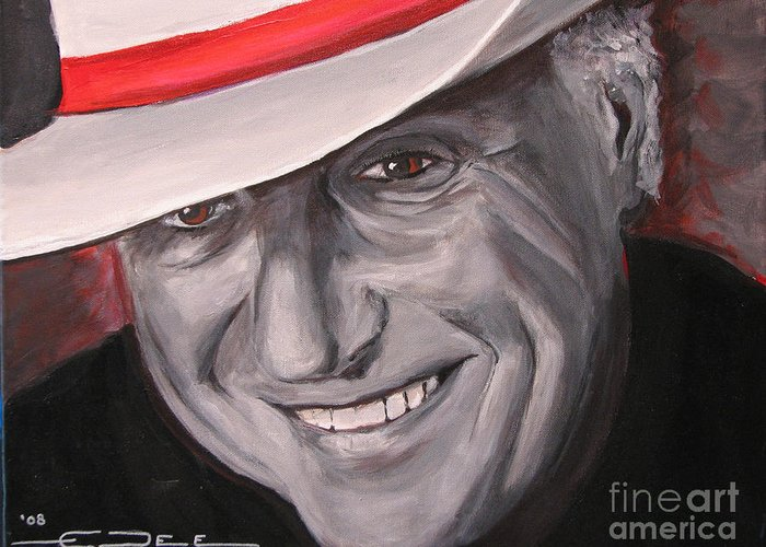 Jerry Jeff Walker Greeting Card featuring the painting Jerry Jeff Walker by Eric Dee