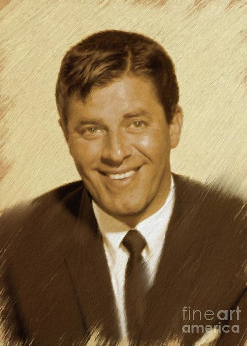 Jerry Greeting Card featuring the painting Jerry Lewis, Vintage Actor by Mary Bassett