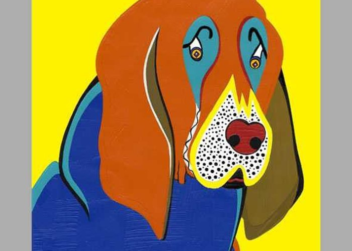 Pop Art Greeting Card featuring the painting Jerry The Bloodhound  by Ruby Persson
