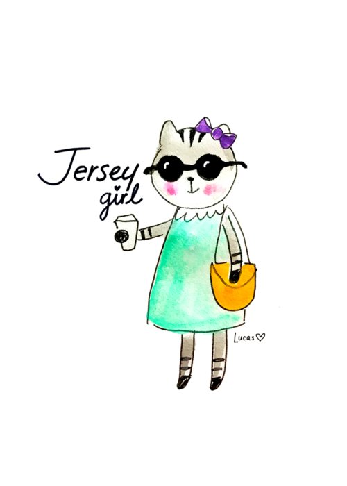 Jersey Girl Greeting Card featuring the painting Jersey Girl by Ashley Lucas