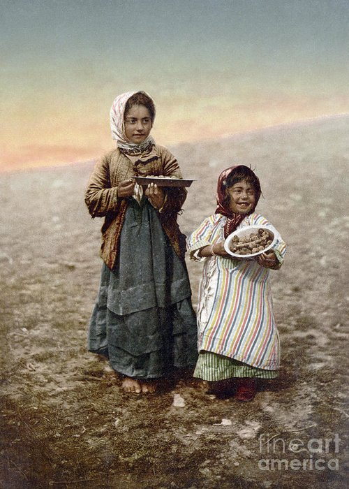 1900 Greeting Card featuring the photograph Jerusalem Girls, C1900 by Granger