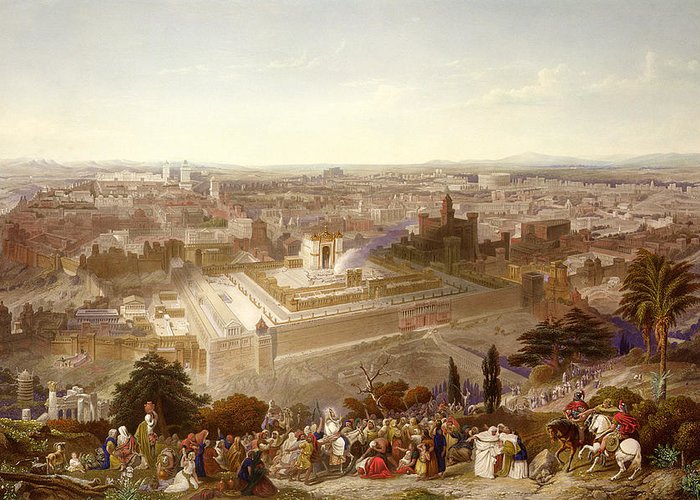 City; Palm Sunday; Entrance; Disciples; Temple; View; Landscape; Palestine Greeting Card featuring the painting Jerusalem In Her Grandeur by Henry Courtney Selous