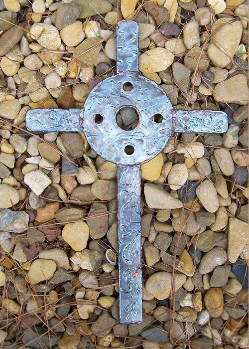 Cross Greeting Card featuring the sculpture Jerusalem On The Rock by Deborah Montana
