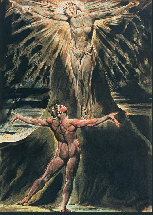 Jerusalem Greeting Card featuring the painting Jerusalem The Emanation Of The Giant Albion by William Blake
