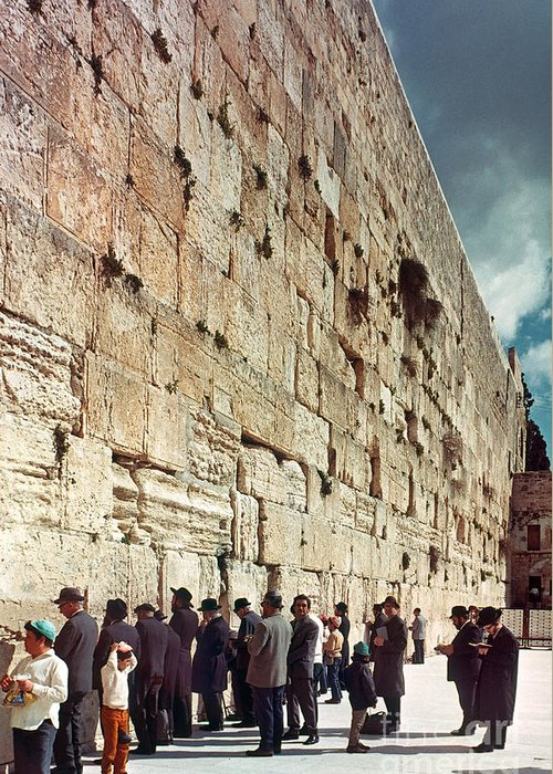 20th Century Greeting Card featuring the photograph Jerusalem Wailing Wall - To License For Professional Use Visit Granger.com by Granger