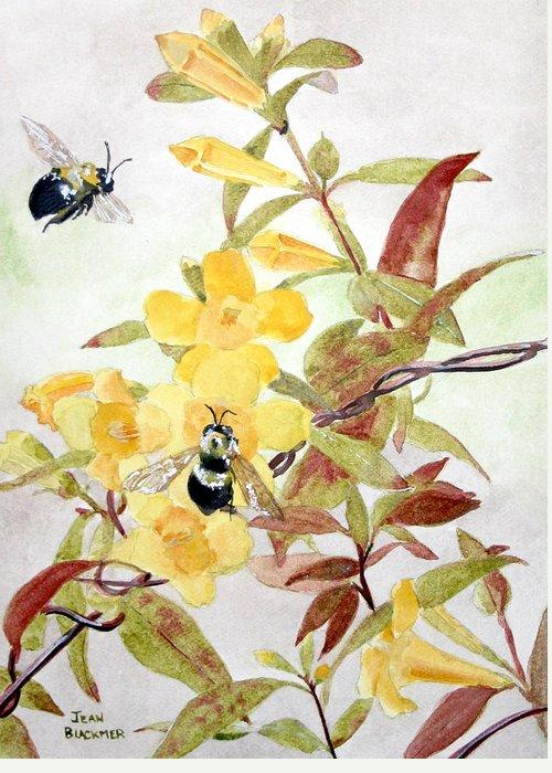 Jasmine Greeting Card featuring the painting Jessamine Bee Mine by Jean Blackmer
