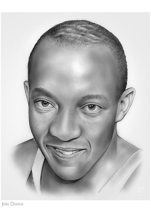 Jesse Owens Greeting Card featuring the drawing Jesse Owens by Greg Joens