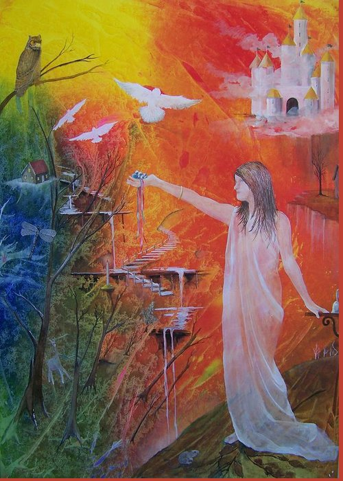Girl Greeting Card featuring the painting Jesse's Offering by Jackie Mueller-Jones
