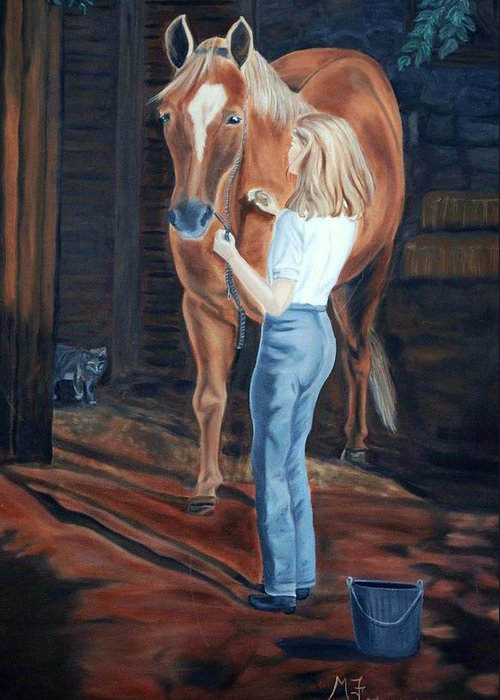 Horse Greeting Card featuring the painting Jessica And Bunnie by Margaret Fortunato