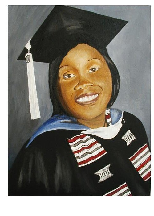 Portrait Greeting Card featuring the painting Jessie by Angelo Thomas