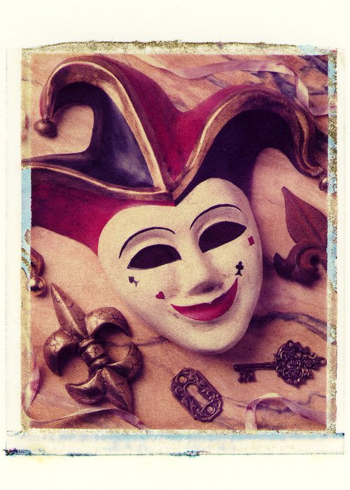 Jester Mask Key Ribbon Greeting Card featuring the photograph Jester Mask by Garry Gay