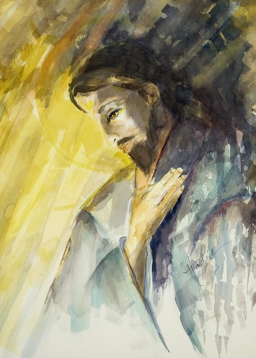 Jesus Greeting Card featuring the painting Jesus 2 by Mary DuCharme