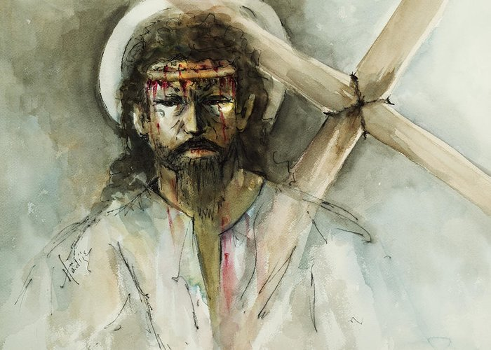 Jesus Greeting Card featuring the painting Jesus 3 by Mary DuCharme
