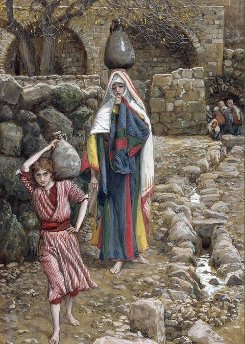 Greeting Card featuring the painting Jesus And His Mother At The Fountain by Tissot