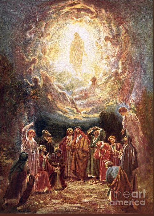 Jesus Ascending Into Heaven By William Brassey Hole (1846-1917) Bible; Jesus Christ; Ascension; Ascending Into Heaven; Jesus Greeting Card featuring the painting Jesus Ascending Into Heaven by William Brassey Hole