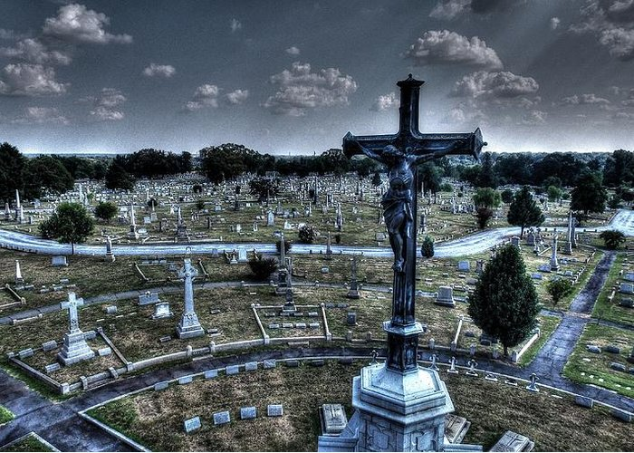 Lynnhaven Greeting Card featuring the photograph Jesus At Calvary by Tredegar DroneWorks