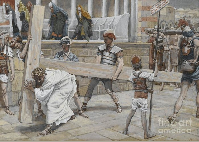 Tissot Greeting Card featuring the painting Jesus Bearing The Cross by Tissot
