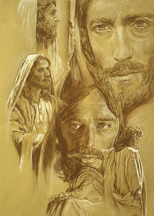 Drawing Greeting Card featuring the drawing Jesus by Bryan Dechter