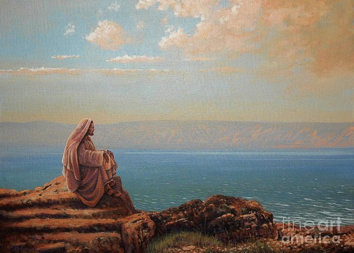Jesus Greeting Card featuring the painting Jesus By The Sea by Michael Nowak