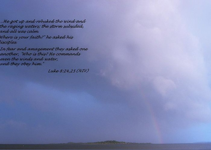 Luke Greeting Card featuring the photograph Jesus Calms The Storm by Sheri McLeroy