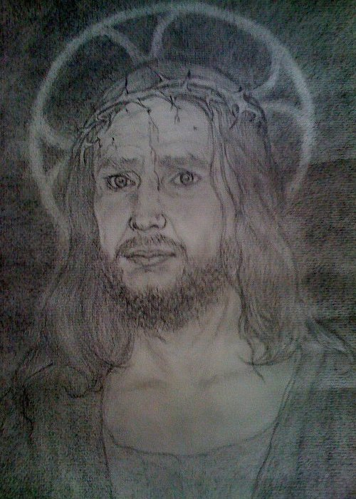 Charcoal Greeting Card featuring the drawing Jesus Christ Our Saviour by Rebecca Poole