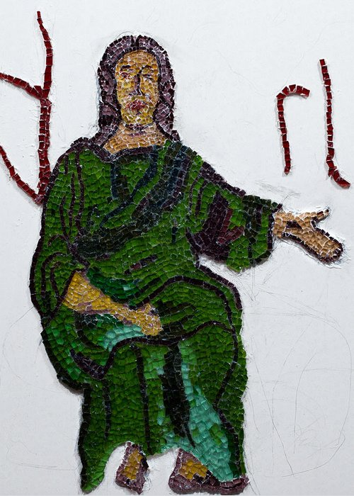 Stained Glass Mosaic Greeting Card featuring the glass art Jesus by Emma Kinani