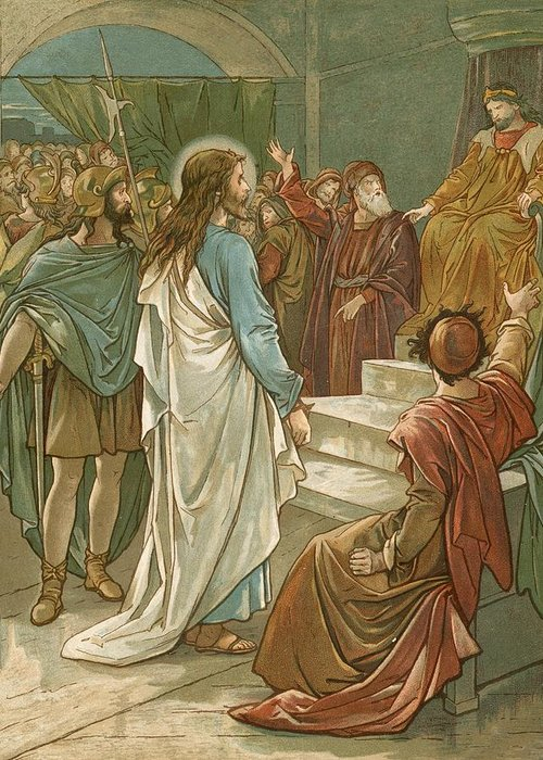 Bible; Jesus Christ; Pontius Pilate; Trial; Soldiers; Romans Greeting Card featuring the painting Jesus In Front Of Pilate by John Lawson