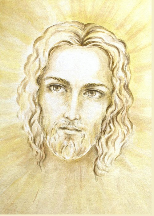 Jesus Light Portrait Greeting Card featuring the painting Jesus In Light by Stoyanka Ivanova
